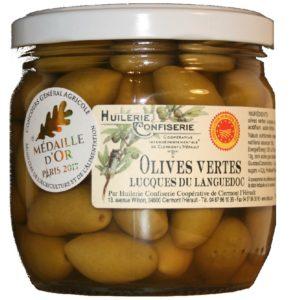 AOC Olives Lucques du Languedoc AOP Confiserie Coopérative de Clermont-l'Hérault 200g net égoutté