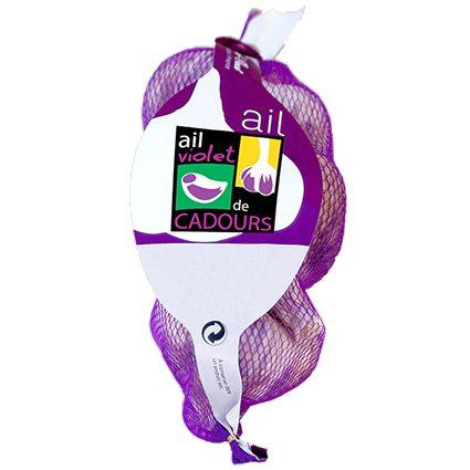 Ail violet de Cadours AOP en filet de 3 grosses têtes, les aulx du Sud-ouest sur produits-origine.com