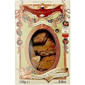 Cantuccini toscani IGP croquants aux amandes et au miel italiens. Spécialité toscane amandes 22%, miel et beurre de qualité supérieure.