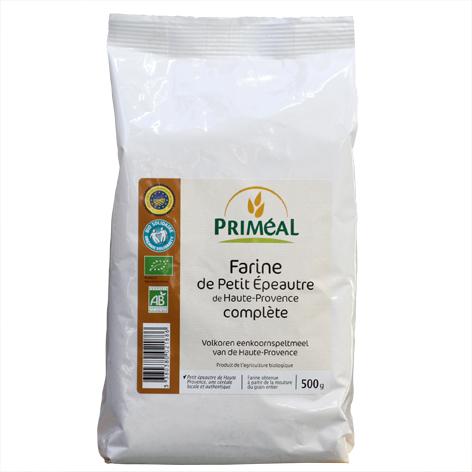 Farine de petit épeautre de Haute-Provence IGP, farine complète et Bio, marque Priméal, sachet 500 g