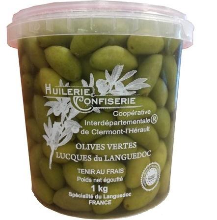 Grosses Lucques du Languedoc AOC / AOP en saumure réfrigérée - Huilerie Confiserie Coopérative de Clermont l'Hérault, SARL L'OliD'Oc
