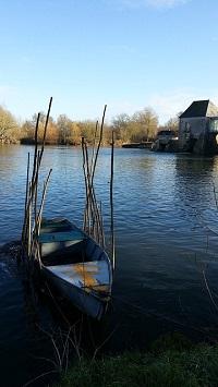 Bord de Loire à l'aval d'Angers, barque