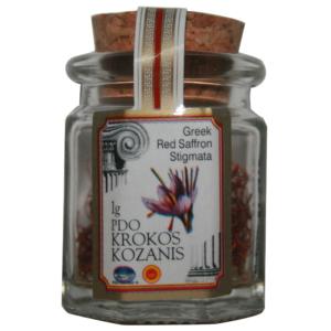 safran de Kozani AOP en stigmates certifié Bio, bocal de verre, coopérative des producteurs de Kozani