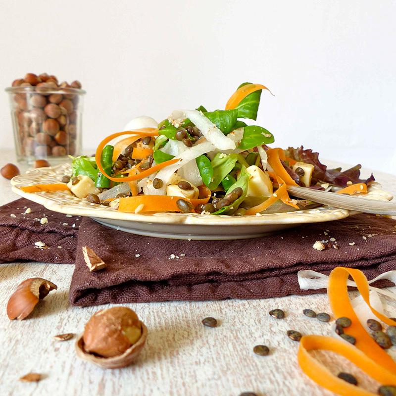 salade de lentilles vertes bio, mesclun, tagliatelles de carotte et de radis noir, noisette et Tomme de brebis