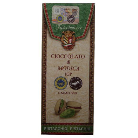 Chocolat aux pistaches IGP di Modica Tipico-barocco sur Originel 50% de cacao, 8% de pistaches