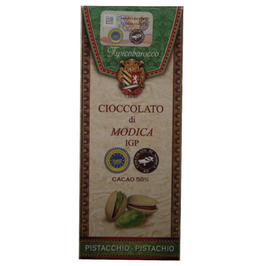 Chocolat aux pistaches IGP Cioccolato di Modica Tipico-barocco sur Originel 50% de cacao, 8% de pistaches