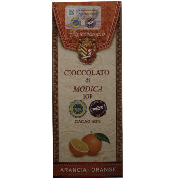 Chocolat de Modica IGP à l'orange Tipico Barocco, produit artisanal de Sicile