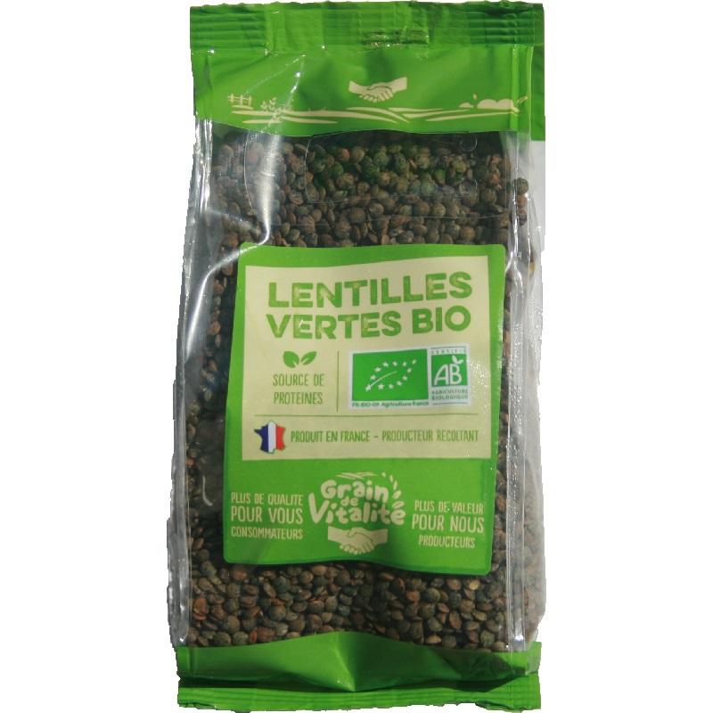 Lentilles vertes Bio Origine France - Grain de vitalité ...