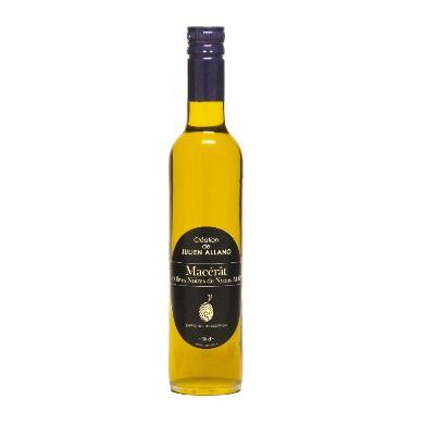 Macérât d'olives noires de Nyons AOP création originale de Julien Allano, huile d'olive vierge extra du pays Nyonsais, grande persistance aromatique, notes de truffes, olives noires et pain au levain