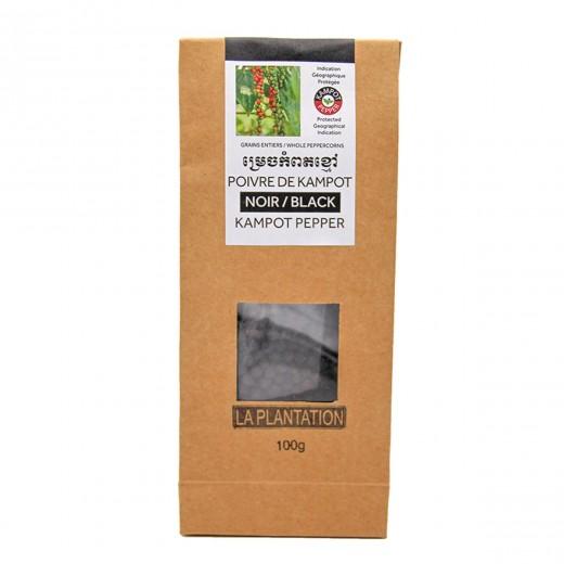 Poivre noir IGP Kampot sous vide inséré dans sachet kraft recyclé étiquette en papier recyclé