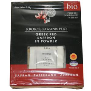 poudre de safran de Kozani AOP conditionné en sachets de 0,25 g